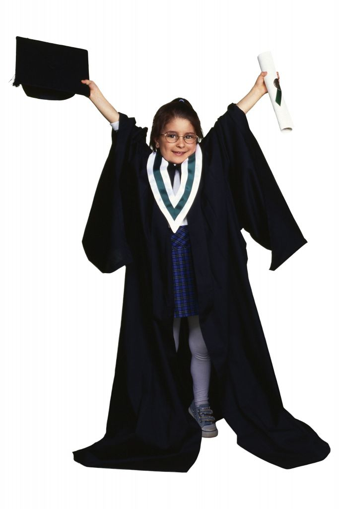 youth dressed up as college graduate