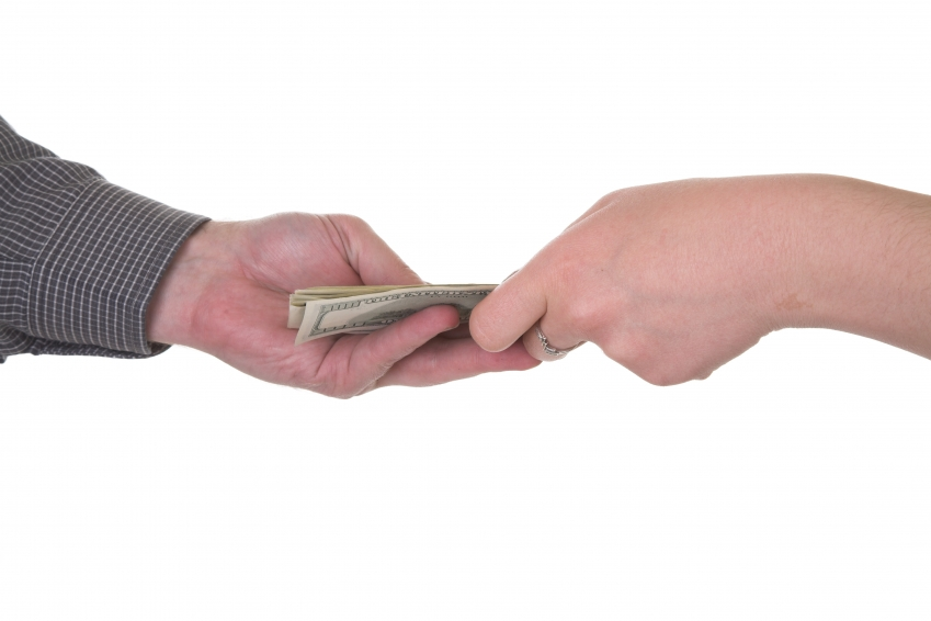 money changing hands