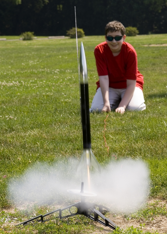 youth launching rocket