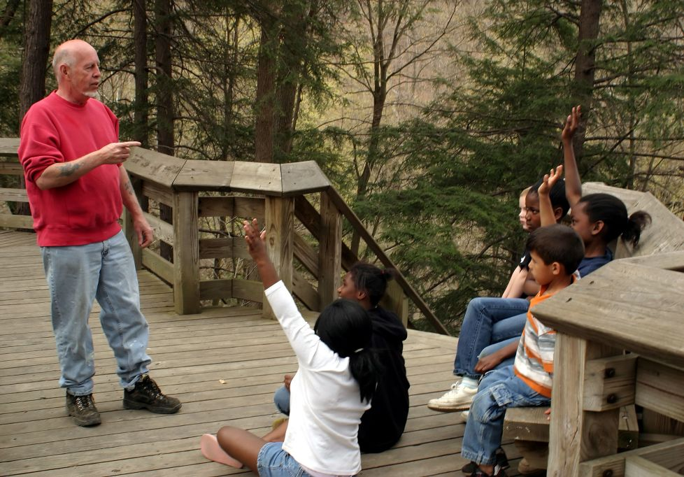 counselor and youth outdoors