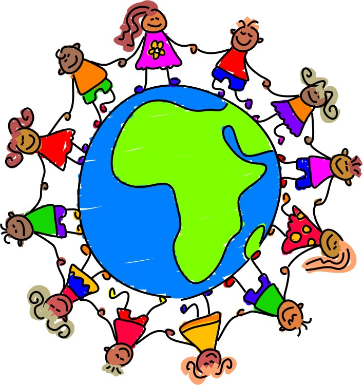 clip art of many children holding hands around the world