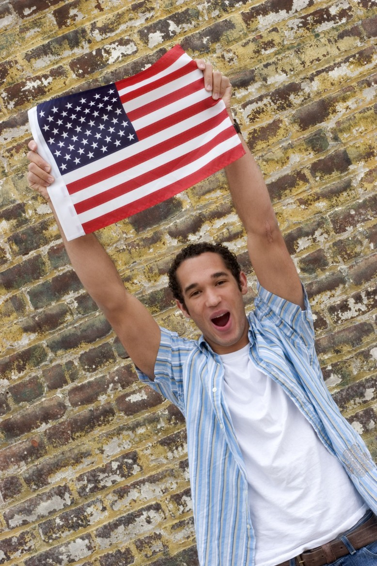 young man with flag